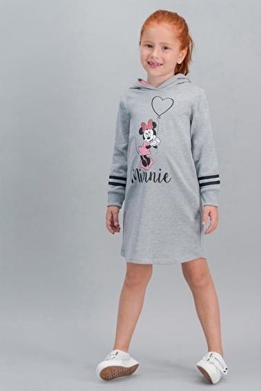 Minnie Mouse Minnie Mouse Lisanslı İnci  Pembe Kız Çocuk Kapüşonlu Elbise Gri